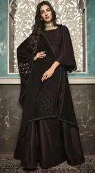 Unstitched Tripta Crepe Silk Semi Anarkali Embroidery Suit, Wash Care: Dry Clean