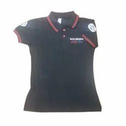 Lycra Cotton Half Sleeve Fancy Polo Neck T Shirt