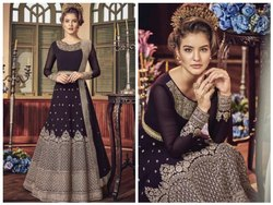 Heavy Embroidered Violet Semi Stitched Anarkali Suit