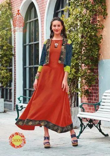 1be62ae755 Kajal Style By Fashion Season Vol 3 Heavy Rayon Double Laher Kurti ...