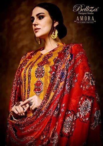 5f238284b9 Regular Wear Unstitched Belliza By Amora Vol 29 Jam Silk Printed Suit