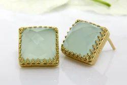 12 mm Cushion Shape New Style Designable Aqua Chalcedony Gemstone Gold Plated Earring Stud