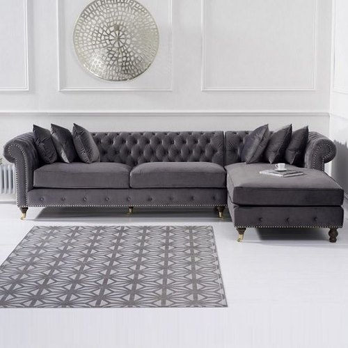 Chesterfield Sofa Set With Squad Fabric