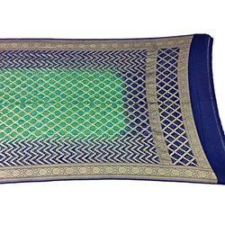Rama And Blue Color Janglow Design Banarasi Georgette Bandhani Dupatta