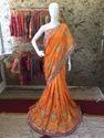 Heavy Work Golden Zari Tikki Hand Paper Silk Saree