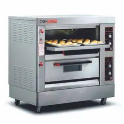 Ss Front And Zinc Outer Body 250 watts Double Deck Gas Oven 4 Tray, 220