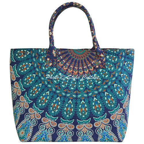 Stylo Culture Dark Blue & Green Printed Cotton Bag, Size: Length-22 x Height-16 x Width-6.5 Inches