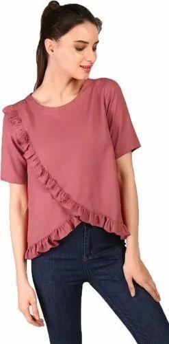 Magenta Half Sleeves J B Fashion Women  s Round Neck Top 8be64392750b