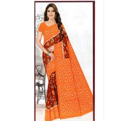 Casual Ladies Printed Polyester Cotton Saree, Machine and Hand Wash, Without Blouse Piece