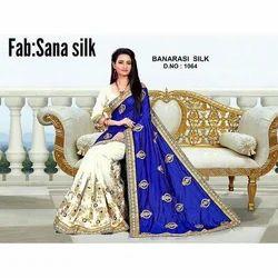 White And Blue Sana Silk Banarasi Silk Saree, Without Blouse Piece