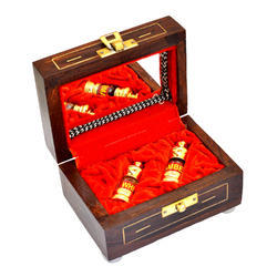 Wooden Box Set Of 02 Glass Stick Golden Polish Bottle 05 Ml
