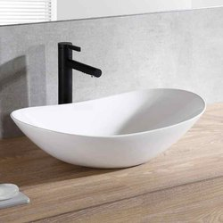 Ceramic Oval White Table Top Wash Basin, For Home