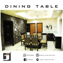 Sagwan Wood Dark Brown Glass Dining Table