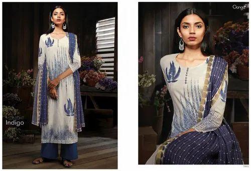 f018d3ab2b Pakistani Embroidered Cotton Salwar Suit Ganga Midnight Indigo, Rs ...