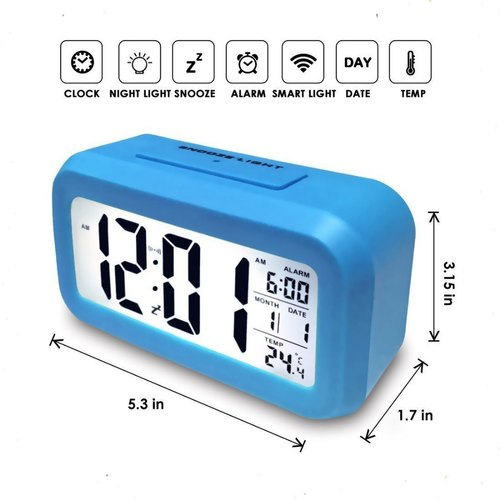 Rectangular Digital Clock Alarm (Blue)