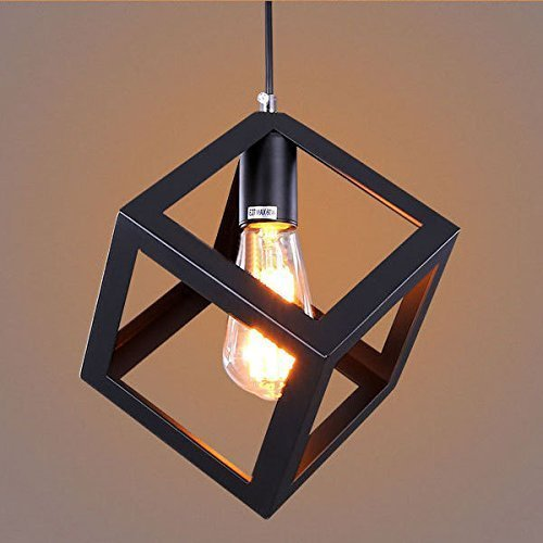 Eisa Vintage Black Metal Square Cube Shape Hanging Light Pendant Ceiling