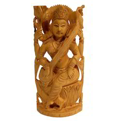 Natural Wooden Saraswati Statue