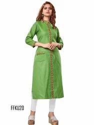 Rayon Green Color Embroidery Kurti