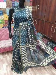 Batik Hand Printed Chanderi Silk Saree