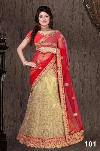 a1c6e27221 Net Wedding Wear Cream Color Semi-Stitched Embroidery Lehenga Choli ...