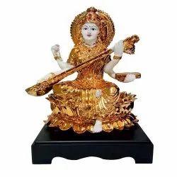 Golden Saraswati Maa Statue