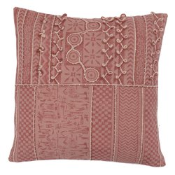 Embroidery Accent Traditional Geometric Pattern Cotton Cushion Cover