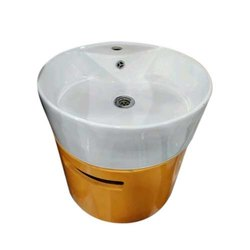 Pedestal White Round Ceramic Wash Basin, For Bathroom