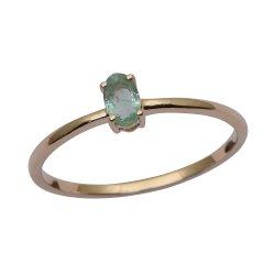 Stackable Pure Fine Gold 9k Emerald Gemstone Women Engagement Ring