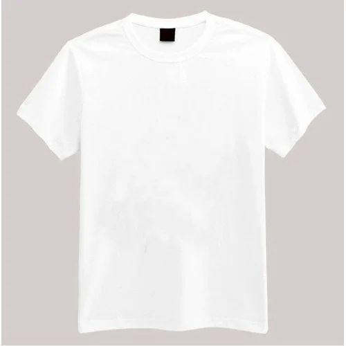 e58e13e5bcf Mens Half Sleeves White Round Neck T-Shirt