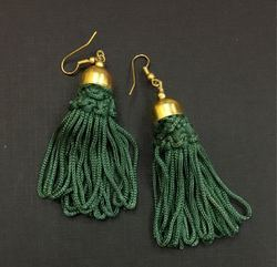 PinkNYou Anniversary and Work Designer Elegant Tassel Earrings Deep Green