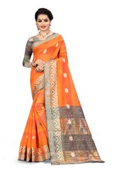 Voolka Toran Tanhaji Woven Cotton Silk Embellished Saree With Blouse Piece