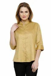 Ladies Cotton Beige Color Shirt, Size: XS