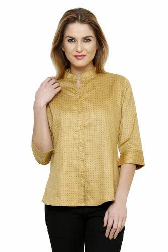 a7b330f0a9773e Ladies Cotton Beige Color Shirt