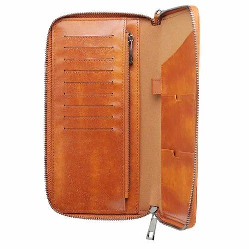 Brown Genuine Leather Passport Holder Boarding Pass Travel Lanyard Wallet