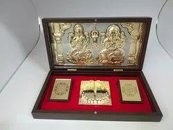 Divinity Laxmi Ganesh Gold Plated Photo Frame Box