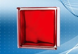 In Colored Red Glass Bricks