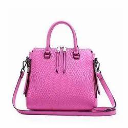 Plain Women Ladies Pink Leather Bag