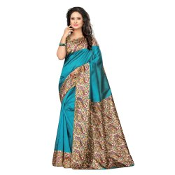 Blue Colored Poly Silk Printed Casual Wear Saree