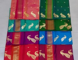 Handwork Pure Silk Tishu Pallu Yeola Paithani, 6 m (With Blouse Piece)