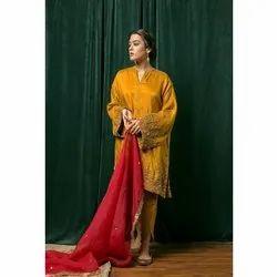 Straight Ladies Silk Suit With Tulip Pant