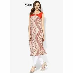 Fancy Sleeveless Digital Printed Crepe Kurti