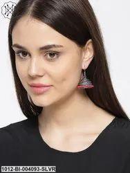 Stunning German Silver Oxidized Red Beaded Jhumki/Earrings