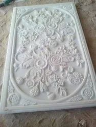 White Marble Slab Flower Carving Work
