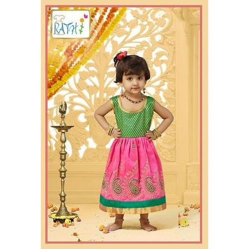 5219c8df2 Green And Pink Regular Wear Kids Traditional Frock