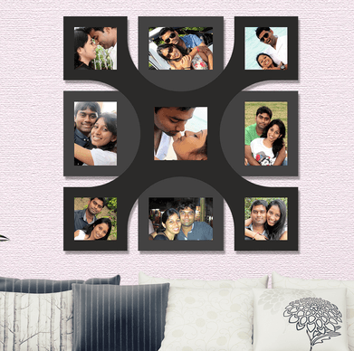 9 photos collage frame square