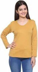 Yellow Plain Round Neck T Shirt