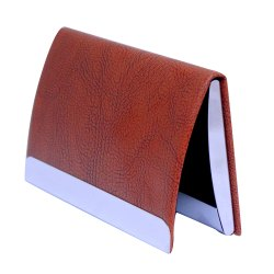 Leather Vertical Steel Card Holder with Magnetic Closure (Brown)