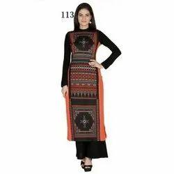 Ladies Designer Full Sleeve Crepe Kurti