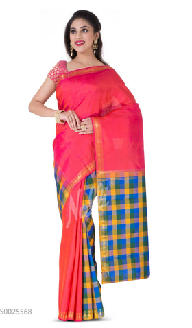 33f4f7d432 Multi Color Kanchipuram Silk Saree at Rs 9931 /piece | नल्ली ...