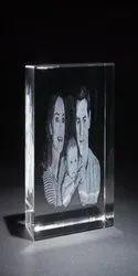 3D Photo Engraved Crystal Photoframe, Shape: Rectangular, 80x50x50 Mm